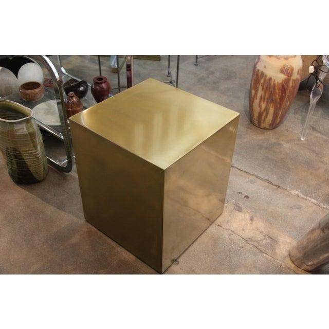 Bridges Over Time Originals Bridges Over Time Originals Brass Coated Cube Table For Sale - Image 4 of 10