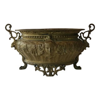 Oval Brass Cachepot For Sale
