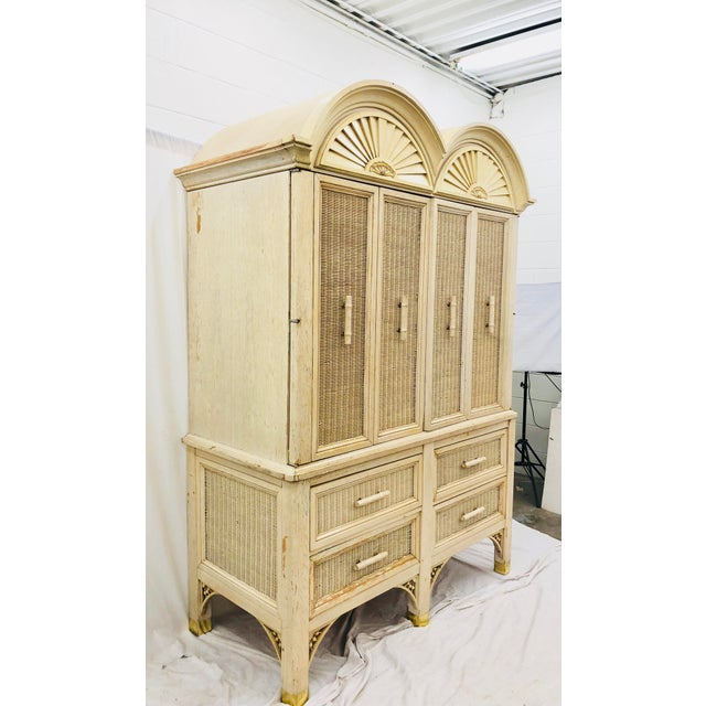 Mid 20th Century Vintage Faux Bamboo Chippendale Style Hutch For Sale - Image 5 of 13