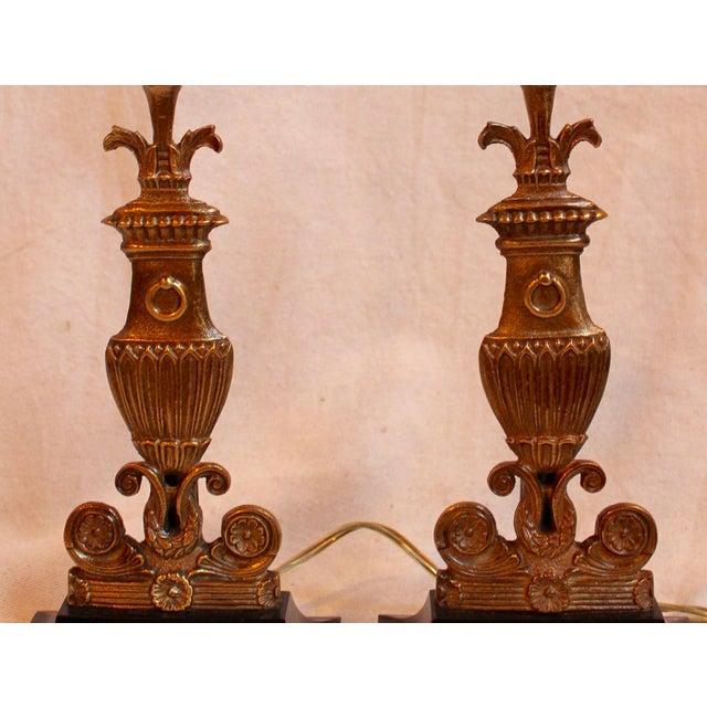 Vintage Bronze & Steel Urn Lamps - Pair - Image 3 of 5