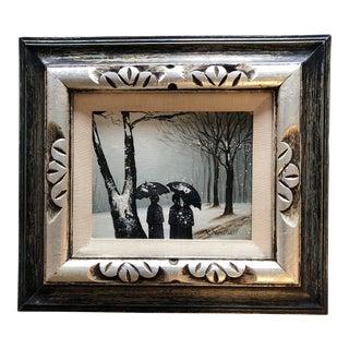 Vintage Original Painting Figures in Snow Landscape Framed For Sale