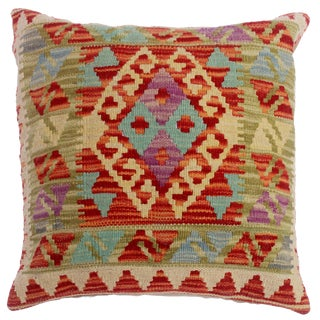 """Chassidy Ivory/Rust Hand-Woven Kilim Throw Pillow(18""""x18"""") For Sale"""