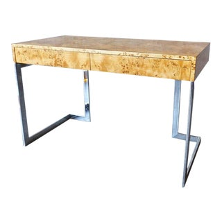Milo Baughman Chrome & Burl Desk
