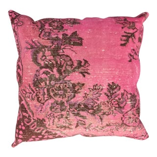 Hand-Knotted Turkish Rug Pink Pillow For Sale
