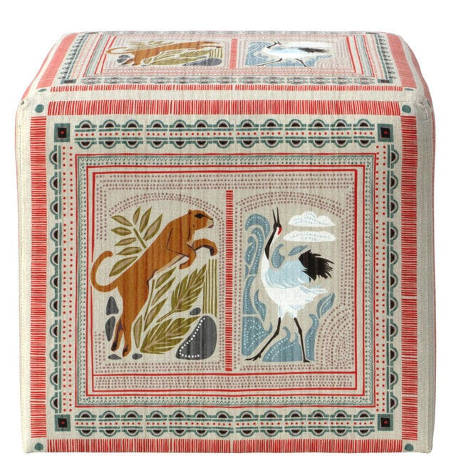 Spritely Home Cube Ottoman in Fauna Multi For Sale - Image 4 of 7