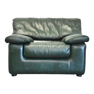 Roche Bobois Green Leather Lounge Chair For Sale