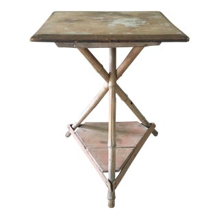 Bamboo Wood Side Table For Sale