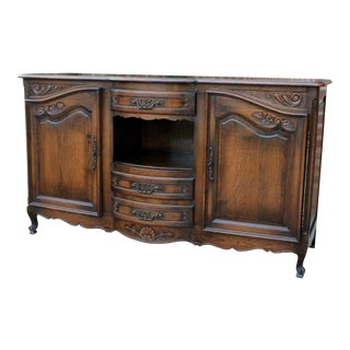 Antique French Country Oak Louis XV Bow Front Server Buffet Sideboard For Sale