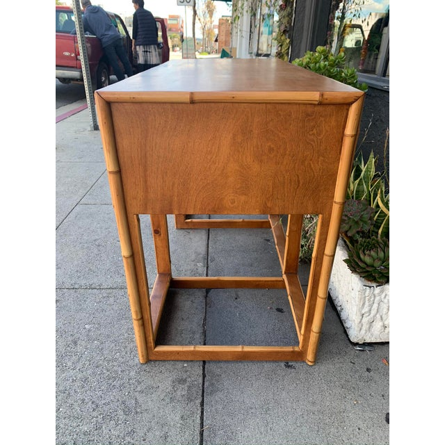 Mid-Century Vintage Bamboo Trimmed Desk For Sale In Los Angeles - Image 6 of 11