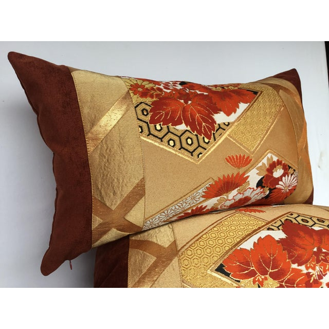 Vintage Japanese Gold & Rust Obi Pillows - A Pair - Image 3 of 7