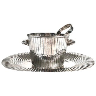 Sanborns Mexican Sterling Silver Ice Bucket With Tongs and Tray For Sale