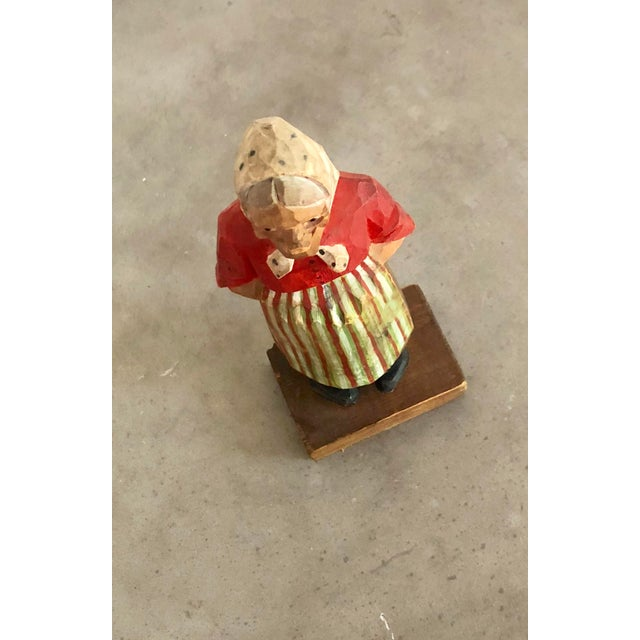 1950s Vintage Signed Hand-Painted Wooden Grandma Figurine For Sale - Image 5 of 8