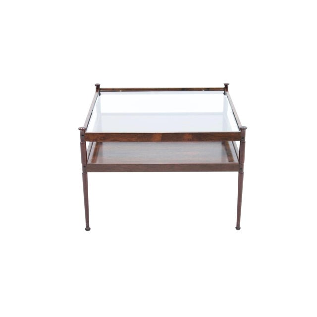 Scandinavian Glass and Wood Coffee Table 1960s For Sale