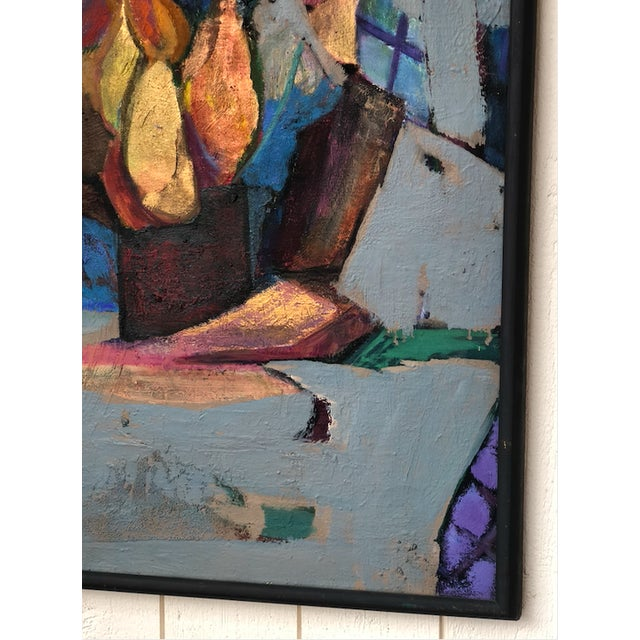 1970s Colorful Vintage Expressionist Abstract Painting on Stretched Canvas by Eric Marconi For Sale - Image 5 of 8