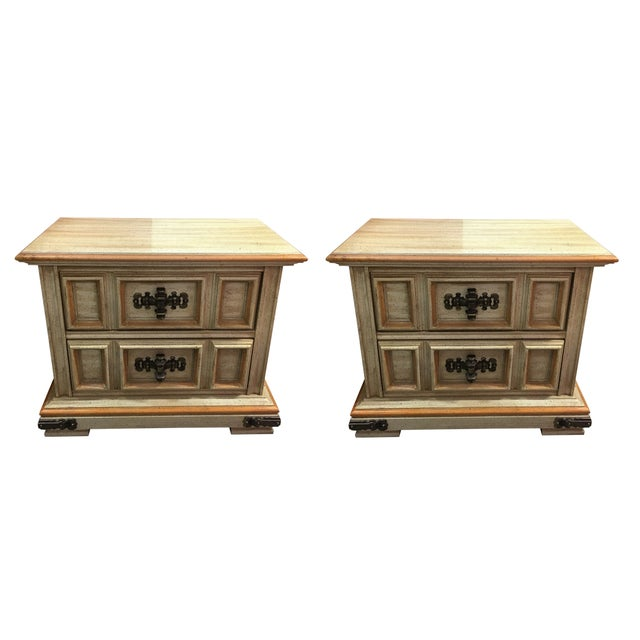 Vintage Stanley Solid Wood Nightstands - A Pair For Sale