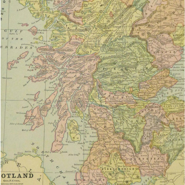 Antique map of Scotland by Cram, 1890. Map shows rivers, mountains, counties, towns and railroad transport. Over 100 years...