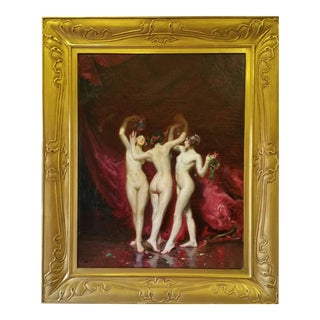 """The Three Graces"" Oil Painting on Canvas For Sale"