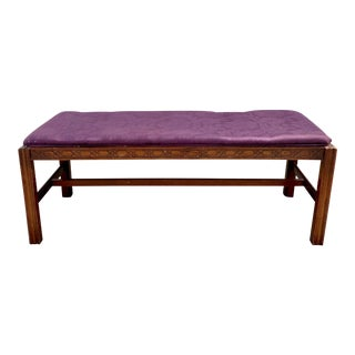 1930s French Carved Wood Rectangular Upholstered Bench For Sale