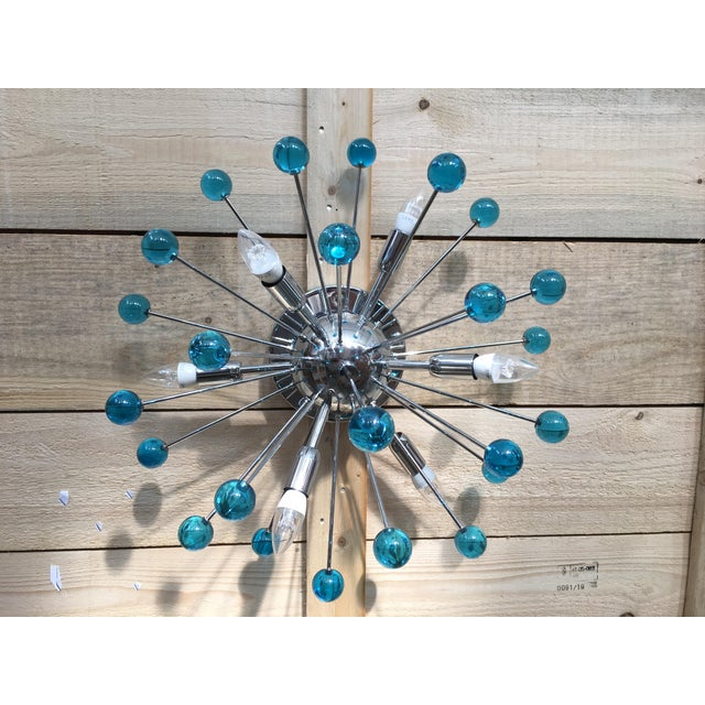 Aqua Blue Murano Glass Sputnik Flush Mount or Wall Sconce For Sale - Image 10 of 10
