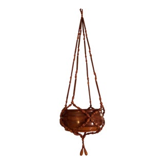 Vintage Wood Beaded Plant Hanger With Red Oak Bowl