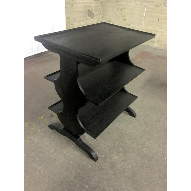 Art Deco Pair of Rare J.M.Frank Attributed Black 3 Tier Side Tables For Sale - Image 3 of 7