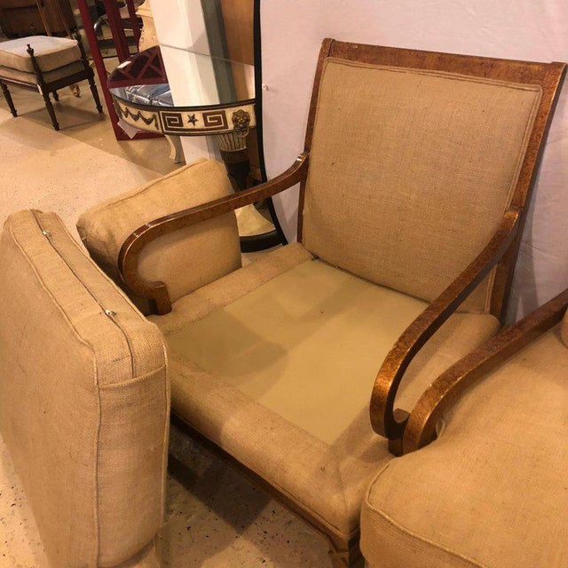 Hollywood Regency Pair of Burlap Faux Marbleized Bergère or Armchairs For Sale - Image 9 of 13