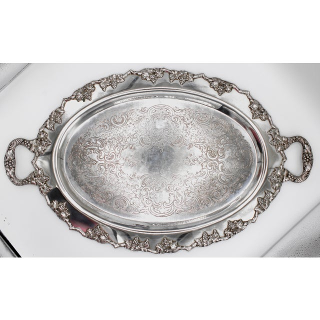 Mid-Century Silver Plate Handled Serving Tray For Sale - Image 13 of 13