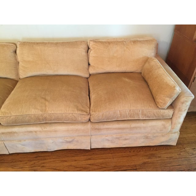 1960s Mid-Century Modern Hog and Horse Mane Hair Sofa Couch With Down Cushions With Floral Slipcover For Sale In Los Angeles - Image 6 of 11