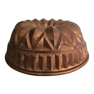 Antique Tin Lined Copper Cake / Jelly Mold For Sale