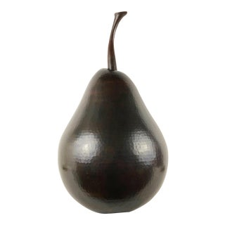 Robert Kuo Antiqued Hammered Copper Pear, Circa 1990 For Sale