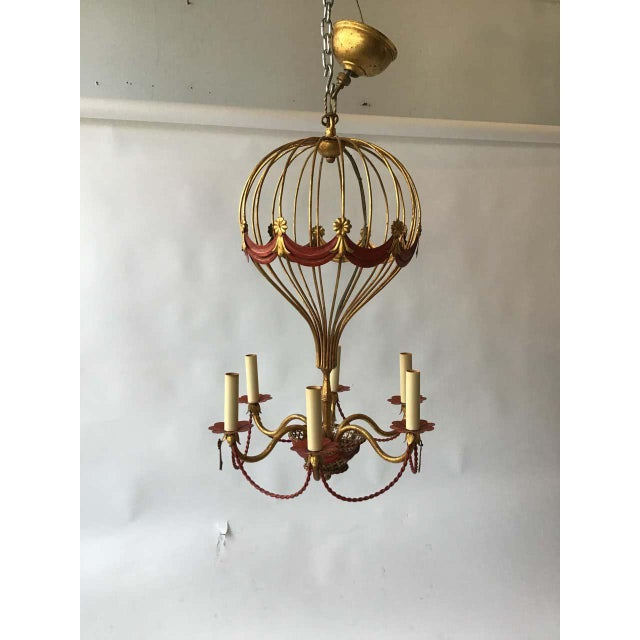 1970s Italian Gilt Iron Hot Air Balloon Chandelier For Sale In New York - Image 6 of 11