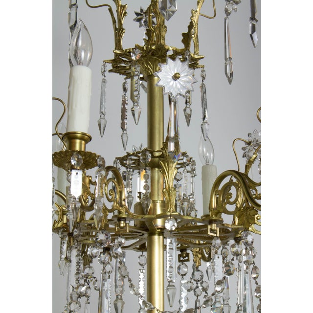 Victorian Brass and Crystal Eighteen Light Chandelier For Sale - Image 9 of 11