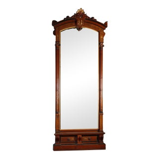 Antique Victorian Carved Burl and Ebonized Parcel Gilt Pier Mirror For Sale