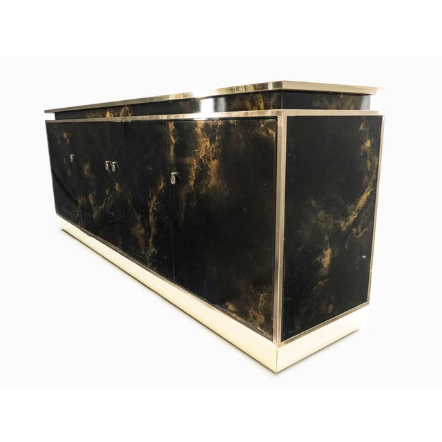 Metal Rare Golden Lacquer and Brass Maison Jansen Sideboard 1970s For Sale - Image 7 of 13
