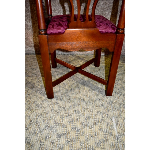 Vintage Chippendale Hickory Chair Solid Mahogany Style Corner Chair For Sale - Image 9 of 13