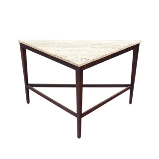 Travertine Top Triangular Corner Table onTapered Legs For Sale