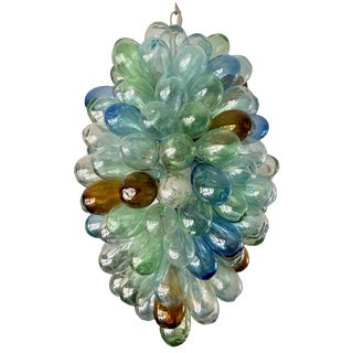 Multicolored Hand-Blown Glass Light Fixture For Sale
