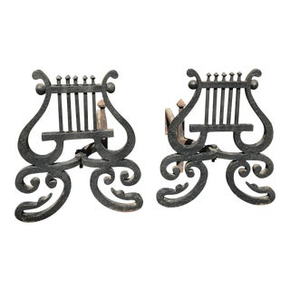 1920s Vintage Lyre Form Andirons- A Pair For Sale