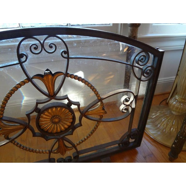 Glass French Art Deco Wrought Iron Fireplace Screen by Szabo For Sale - Image 7 of 9