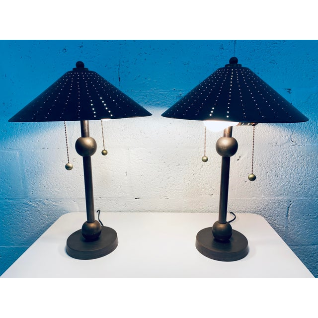 Postmodern Brass Desk or Table Lamps - a Pair For Sale - Image 10 of 13