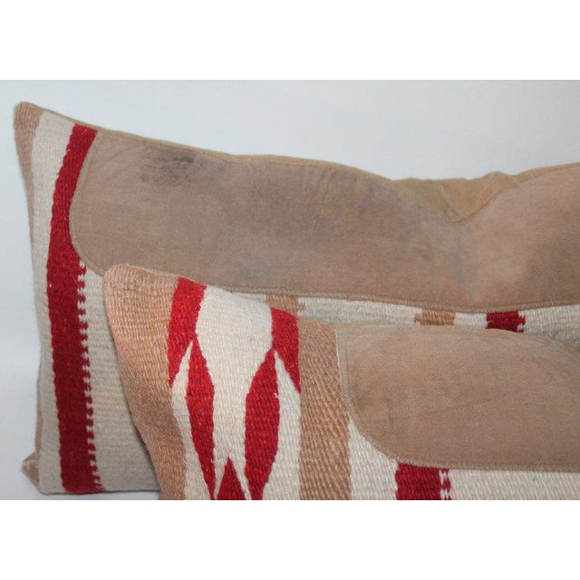 Navajo Indian Weaving Saddle Blanket Pillows - A Pair For Sale In Los Angeles - Image 6 of 10