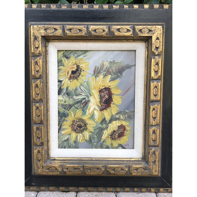 Impressionist Mid-Century Impressionist Painting of Sunflowers For Sale - Image 3 of 10