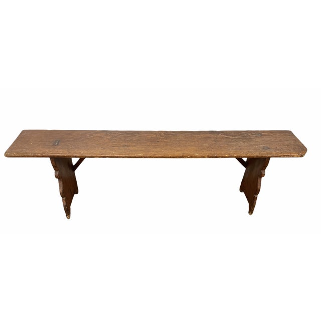 Early 20th Century Early 20th Century Vintage Country Farmhouse Wood Bench For Sale - Image 5 of 11