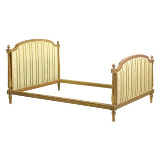 Antique French Louis XVI Style Carved Giltwood Bed Frame With Rails For Sale