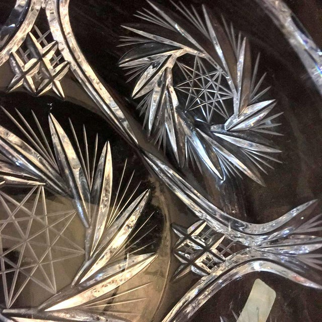 1970s Lausitzer Pinwheel Star Pattern Crystal Bowl For Sale - Image 5 of 10