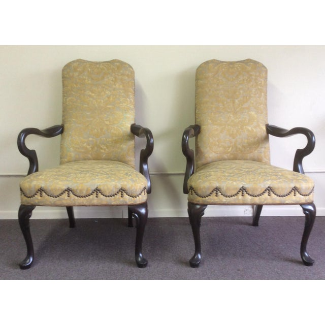 English Style Arm Chairs With Fortuny Upholstery - a Pair For Sale - Image 11 of 12