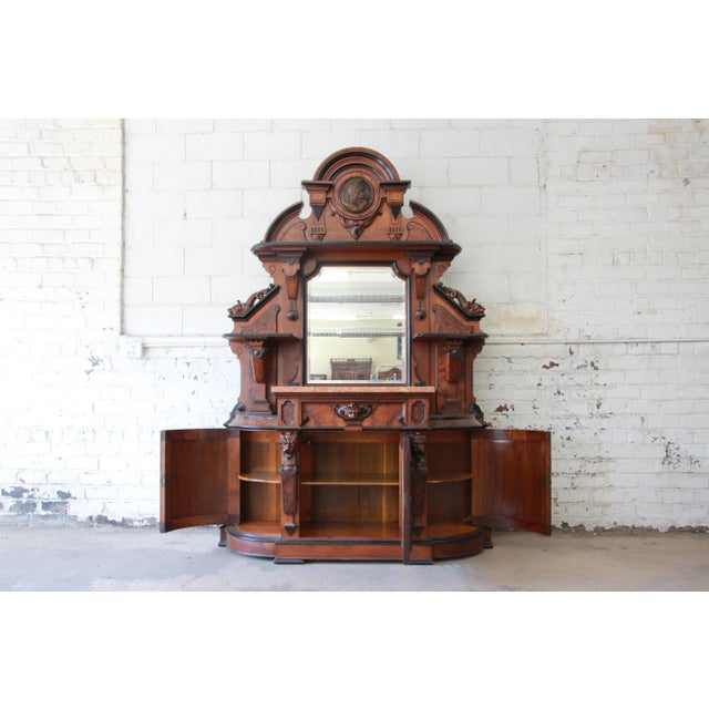 Monumental 19th Century Victorian Ornate Carved Burled Walnut Sideboard For Sale - Image 4 of 13