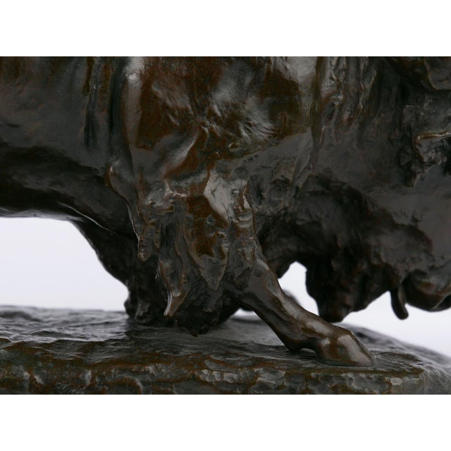 """Metal """"Bison Et Jaguar"""" French Bronze Sculpture Cast After Model by Georges Gardet For Sale - Image 7 of 13"""