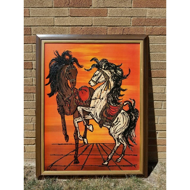 Mid Century Modern Original Turner Wall Accessory Signed Lee Burr Carousel Horse Painting. Excellent vintage condition....