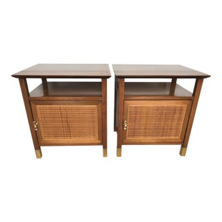 Mid-Century Wood, Cane, Brass and Lucite Nightstands - a Pair